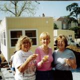 The Office being brought into place.  Kathy, Rosemary & Joan toast with sparkling cider.